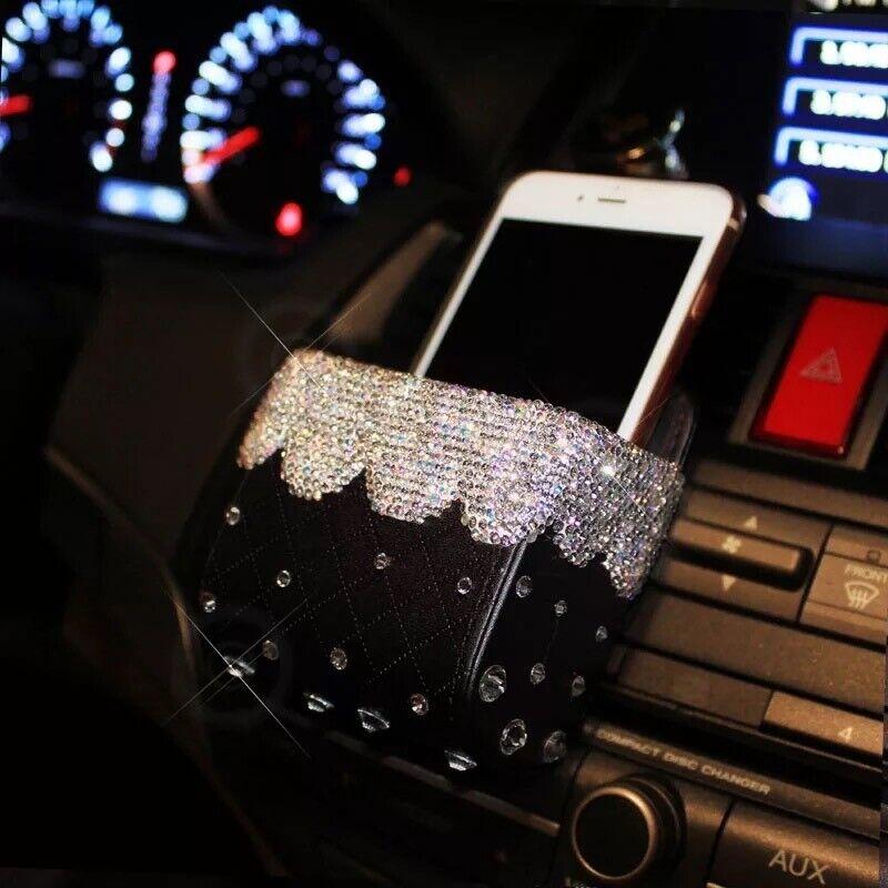 Bling Diamond Crystal Car Mobile Phone Holder Storage Box Car Decor Accessories