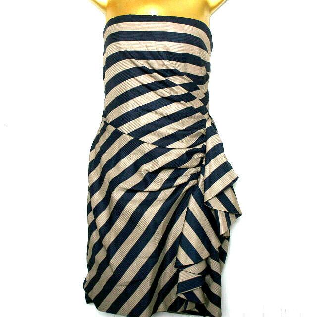BCBGMaxazria Strapless bluee Tan Lined Dress Size 10