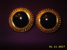 Vtg. Monet Gold Tone Rope Edge Black color Dome Pierced Earrings costume jewlery