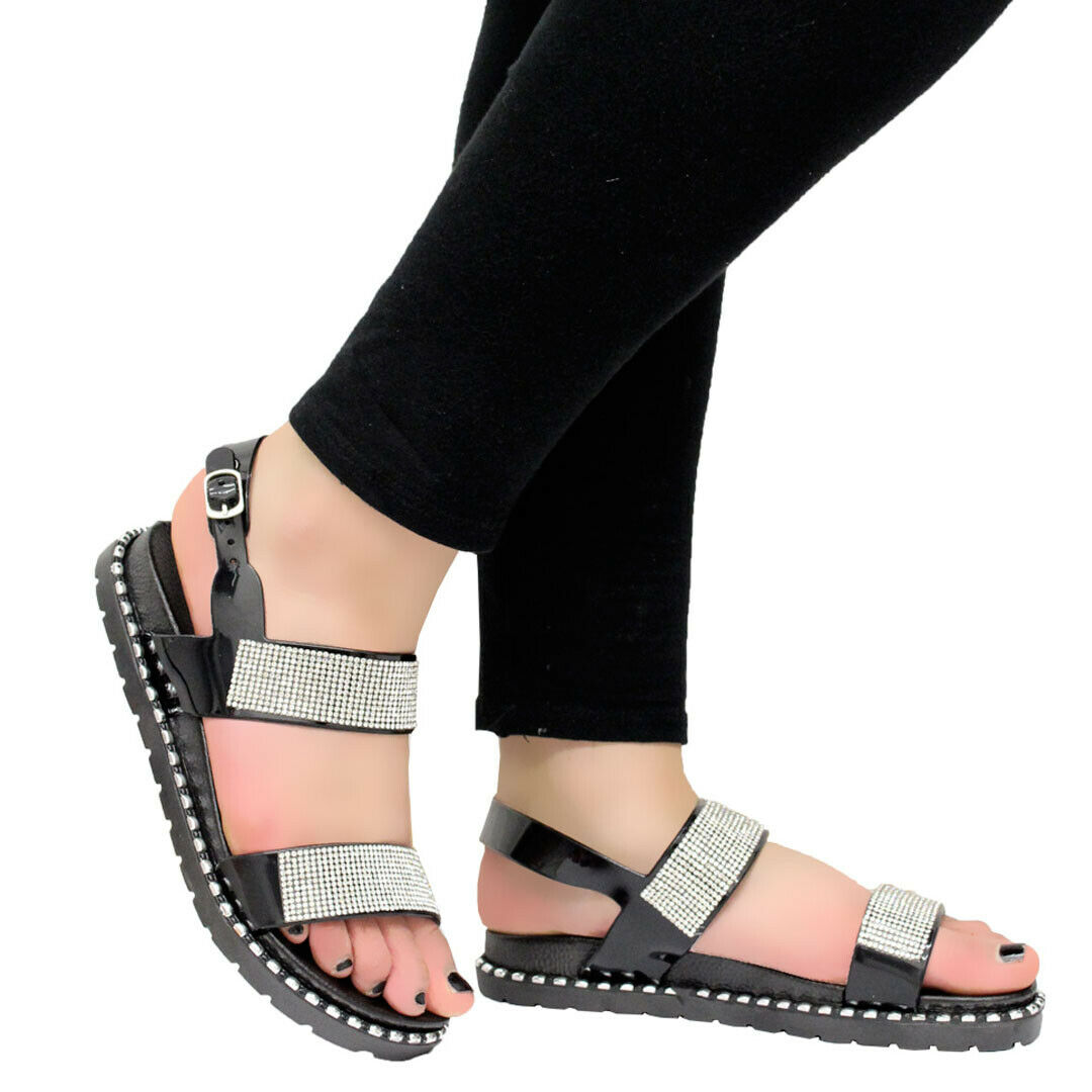 Details about Ladies Women Casual Summer Beach Diamante Sliders Sandals Mules Jelly Shoes Size