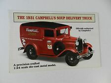 Danbury Mint 1931 CAMPBELLS SOUP DELIVERY TRUCK Brochure Pamphlet Mailer
