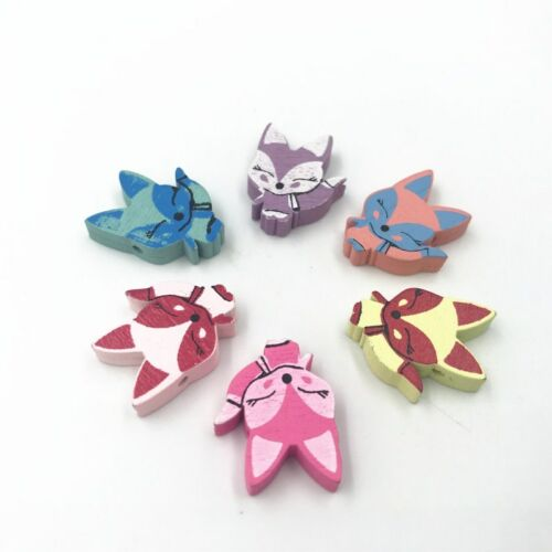 DIY Fox shape Wooden Beads Loose Beads Kids Toys Pacifier Clip Accessories 23mm