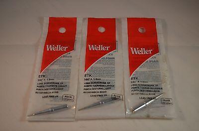 3 x Original Weller ETV Solder Soldering Tip fits StationsWES51,PES50/&51,WESD51D