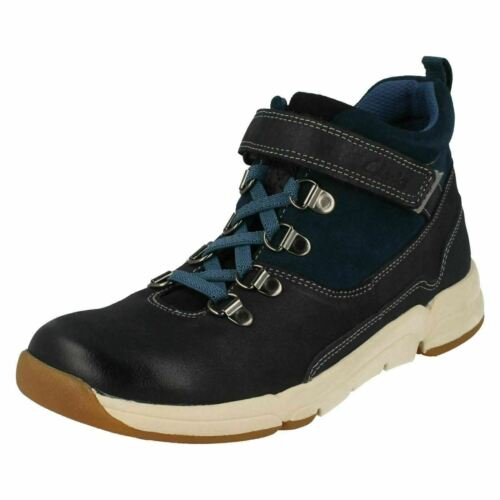Clarks Tri Spike Grey Combi Leather Boys Boots Size UK 9 1//2-13 1//2G