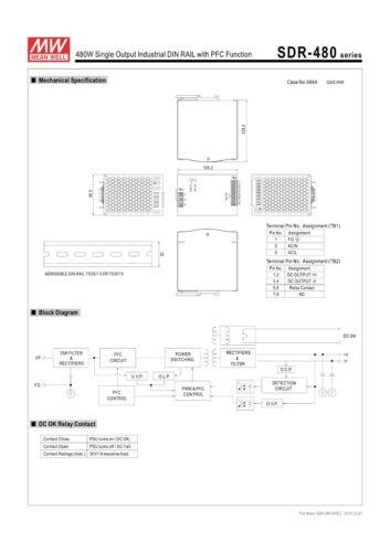 Mean Well sdr-480-24 hutschienen Bloc d/'alimentation 480 W 24 V 20 A 85,5 mm Commutation Alimentation Cv