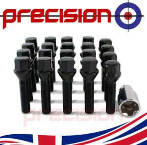 16 Black Extended 45mm Wheel Bolts Nuts & Locks for BMW 6 Series 2004-2010