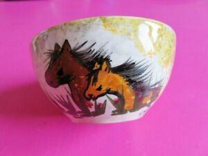 195 - Bol Chevaux Et Roseaux - Signé M. Jose - Céramique D'art Peint à La Main