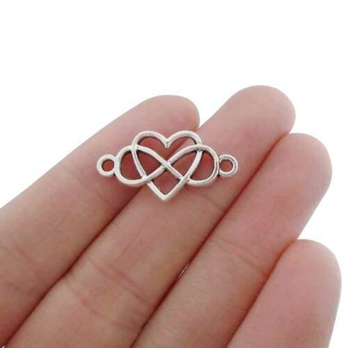 20 x Tibetan Silver Tone Infinity Heart Connector Charms Double Sided 25x13mm