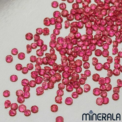 SIZES LOOSE STONES WHOLESALE NATURAL BURMA RED RUBY GEMSTONE ROUND FACETED V