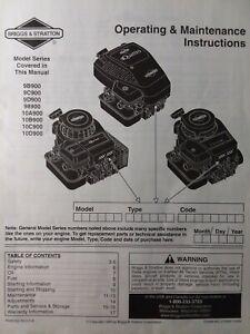Briggs Stratton Gasoline Engine Owners Manual Quattro Lawn Mower 9b900 10d900 Ebay