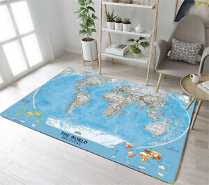Details About Soft Floor Rug Mat Kid Bedroom Carpet Living Room Area Rugs The World Map Design