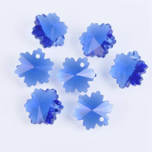 10pcs 14mm Snowflake Loose Faceted Crystal Glass Pendant Craft Beads Deep Blue
