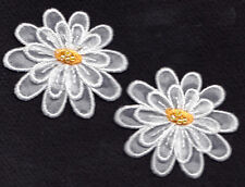 SET OF 2 WHITE ORGANDY DAISIES w/YELLOW BEADED CENTER - Iron On Embroidered