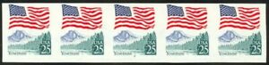 2280c-25c-Flag-Imperf-Plate-9-F-VF-NH-Strip-of-5