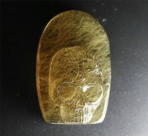 Rare Natural Golden Rutilated Quartz Crystal Carved Skull Healing For pendant