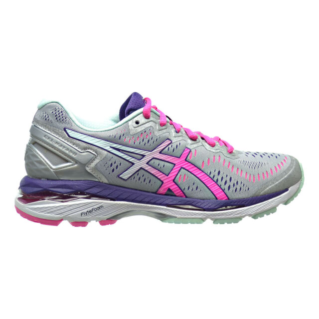 ASICS Gel kayano 23 Womens Gray Pink Mesh Athletic Lace up Running Shoes 7