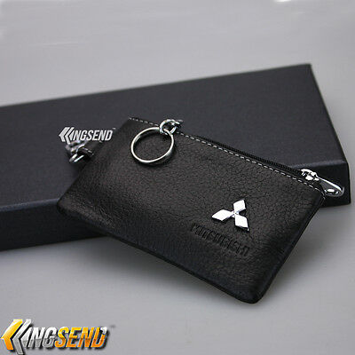 MITSUBISHI Key Bag Holder 100% Genuine Cow Leather Remote Cover Fob Case Ring