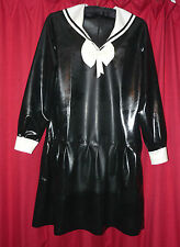 superb black white latex school girl long sleeve dress 40-46 chest TV  sissy