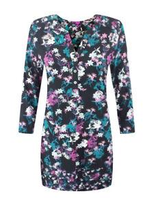 Ex-Una-Ladies-Negro-Purpura-Floral-Per-Impresion-Jersey-Tunica-Top-Talla-10-20