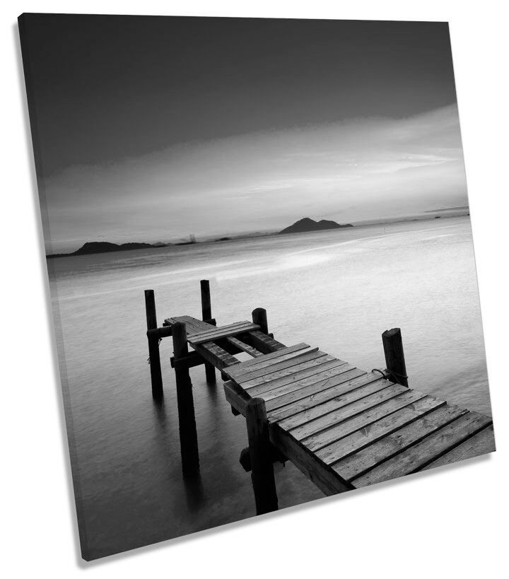 Sunset Jetty Pier Seascape Lake B&W SQUARE CANVAS WALL ART Boxed Framed