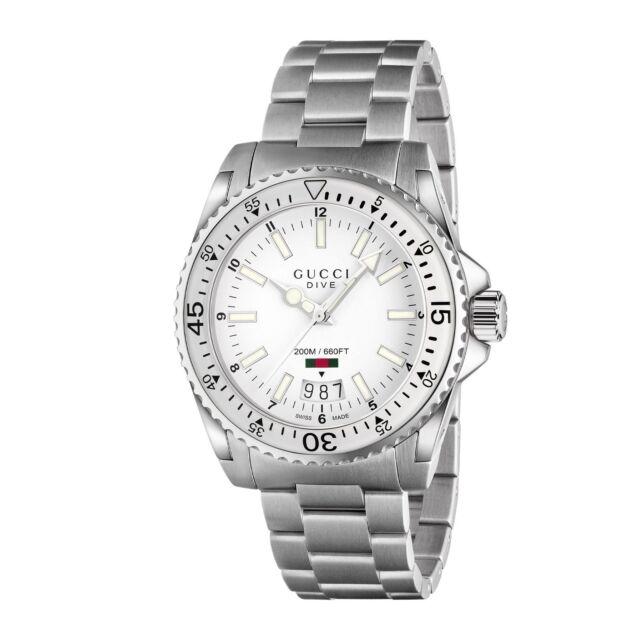 design di qualità 210e4 c24b4 OROLOGIO UOMO GUCCI DIVE MAN WATCH YA136302 ACCIAIO STEEL bianco WHITE  SWISS 200