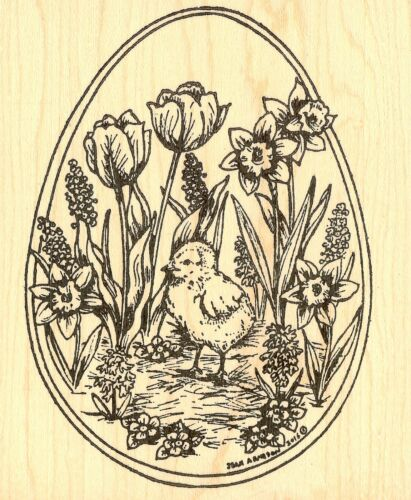 EASTER EGG CHICK SPRING FLOWERS Wood Mounted Rubber Stamp NORTHWOODS P9954 New