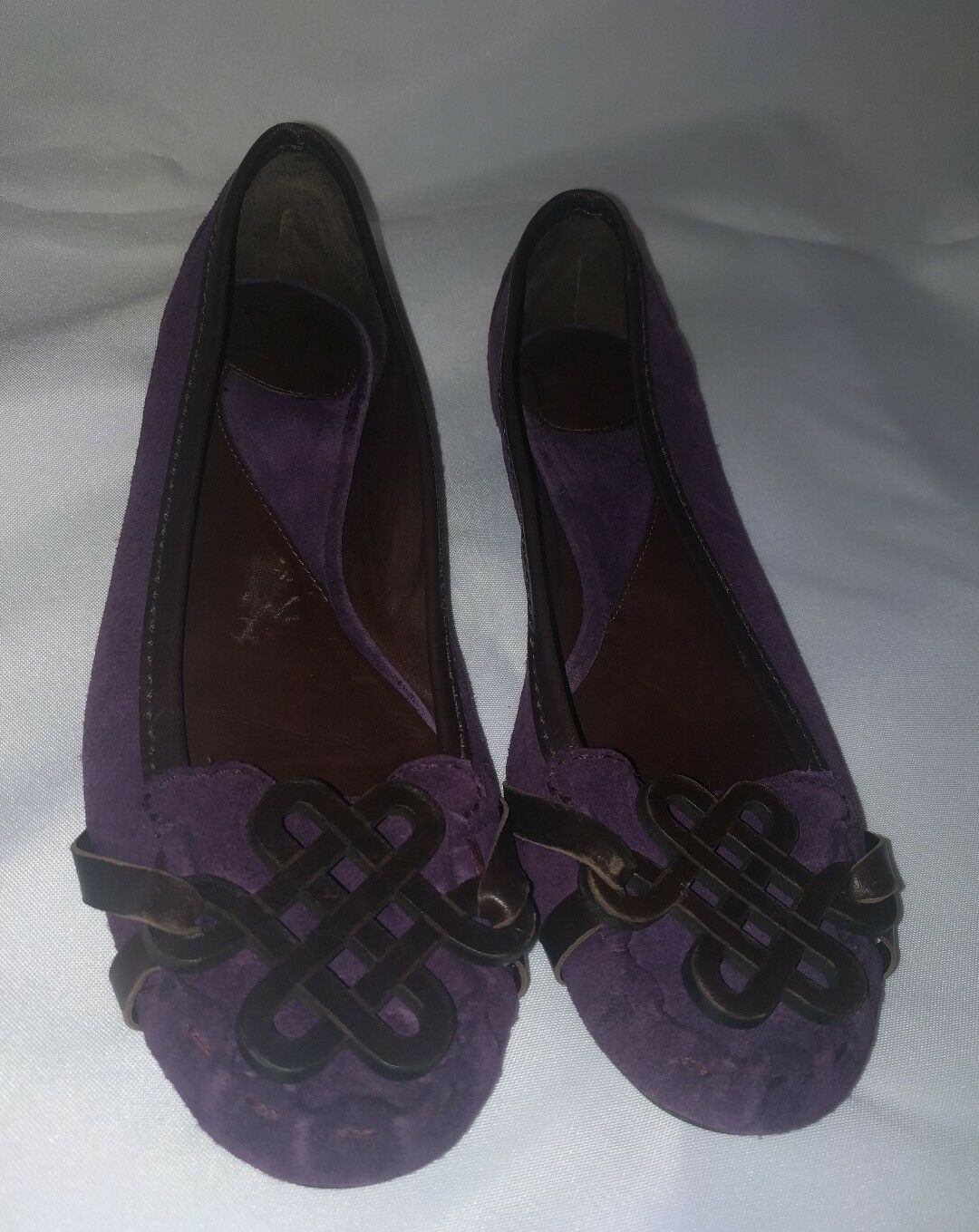 Diane Von Furstenberg Loafers Flats Slip On Purple Leather Suede Women's Size 6M