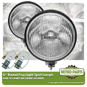 "6"" Round Fog Spot Lamps for Classic Car. Lights Main Beam Extra"