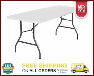 Cosco 6 Foot Centerfold Folding Table White Moisture Proof