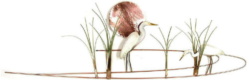 Egret w// Grasses Enameled Copper Wall Art Sculpture by Bovano of Cheshire #W372