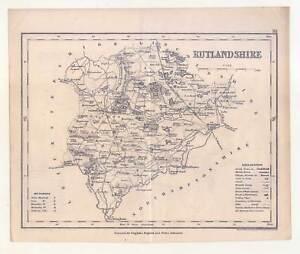 Rutlandshire-angleterre-acier Clés-map-carte 1835-afficher Le Titre D'origine AgréAble Au Palais