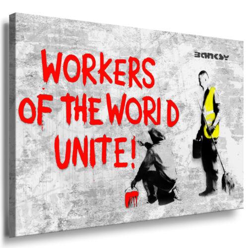 LEINWAND BILD WANDBILD KEILRAHMENBILD KUNSTDRUCK Banksy Stencil Art Workers of..