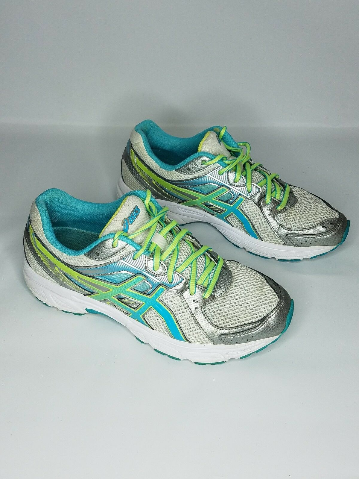 Asics Gel Contend 2 Running shoes Womens Size 9.5 White Teal Silver T474N