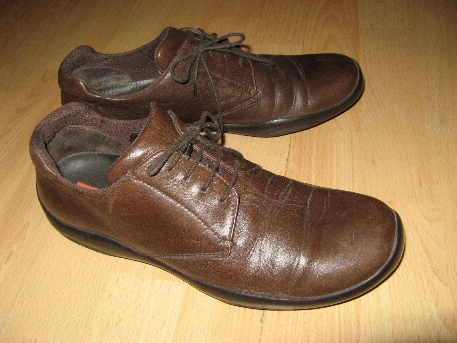 Difficilmente marrone indossato da Uomo Autentico marrone Difficilmente in pelle Prada Con Lacci Scarpe Casual 8 EU dbf1b3