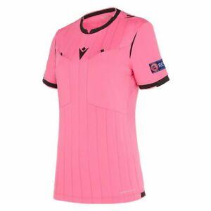 Macron-Fussball-1-2-Shirt-UEFA-Referee-19-Schiedsrichter-Trikot-Damen-neonpink
