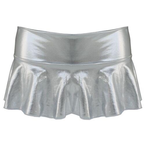 US Women Shiny Wet Look Leather Bodycon Micro Mini Skirt Flare Dress Nightwear