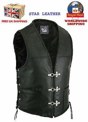 Obligatorisch New Mens Leather Fish Hook Buckle Side Laces Braided Biker Waistcoat/vest Angenehm Zu Schmecken