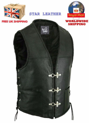 NEW MENS LEATHER FISH HOOK BUCKLE SIDE LACES BRAIDED BIKER WAISTCOAT/VEST