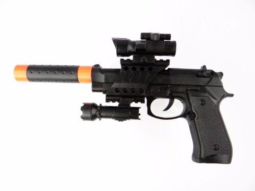 Enfants Jouet en plastique police gun 9 mm set Batterie avec Orange Tip /& silencieux