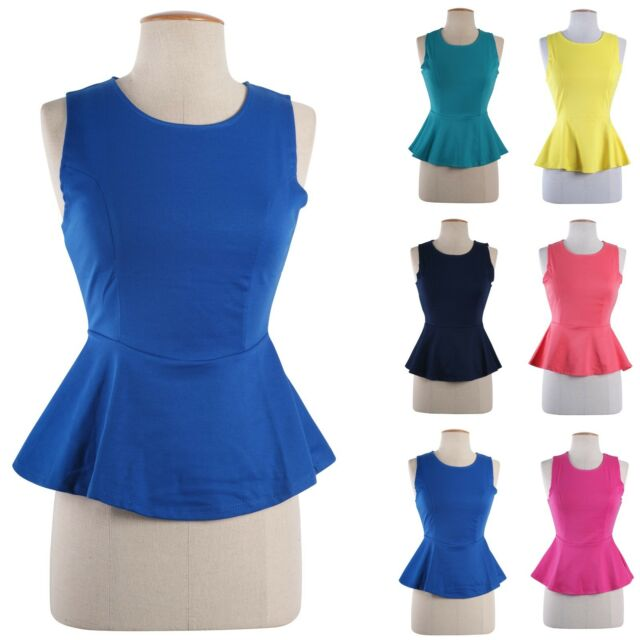 Solid Colors Fitted Round Neck Sleeveless Tunic PEPLUM Skater Top Blouse Shirt