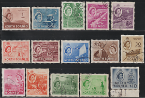 NORTH-BORNEO-1954-QE-II-PICTORIAL-DEFINITIVE-TO-10-SET-15V-F-USED-CAT-RM-280