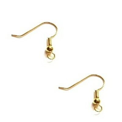 100 Pcs Gold Plated Fish Hook Earwires - F0022