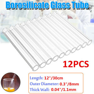 Details about 12pcs Borosilicate Glass Tubing 8mm OD Blowing Pyrex Tubes  Clear 12