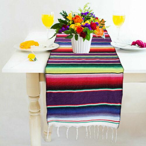 Mexico Rainbow Table Runner Edge Tassel Cotton Tablecloth For Party Dinner Decor