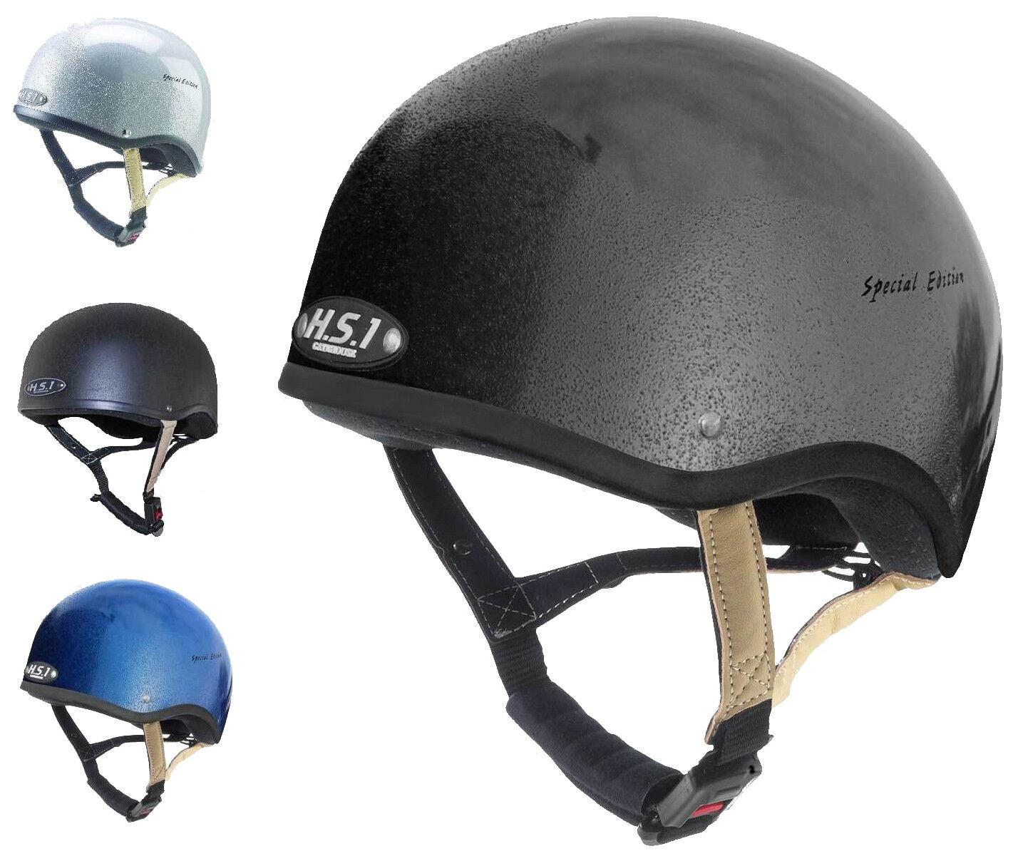 Gatehouse HS1 Jockey cráneo casquillo Equitación Casco Plata Negro Azul Snell