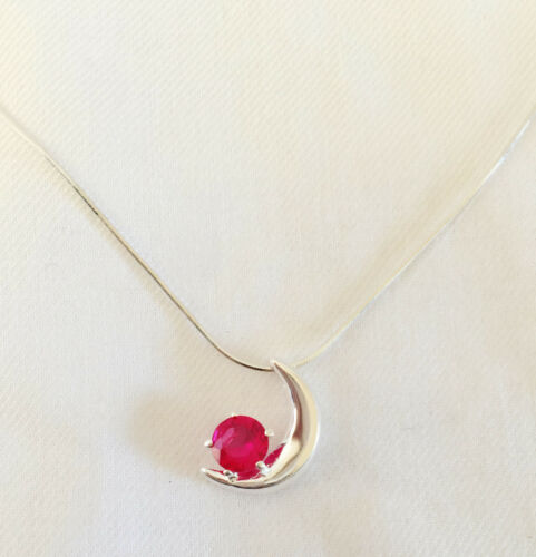 Nw 925 Sterling Silver Ruby Red Waxing Crescent Moon Charm Pendant Necklace 1382
