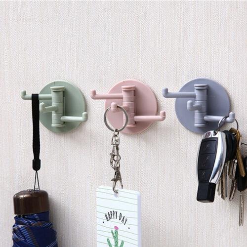 Rotatable Triangle Towel Rack Adhesive Wall-Mount Bathroom Hanger Stick Hook