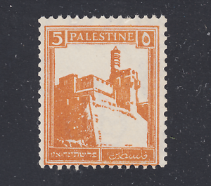 Palestine-Sc-67c-MNH-1936-5p-brown-orange-Citadel-perf-14-x-14-coil