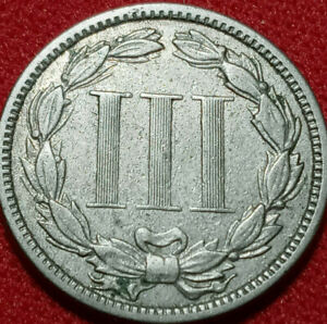 1874  US 3 CENT NICKEL,Pure high grade NICKEL US Coin.Antique 3c Piece