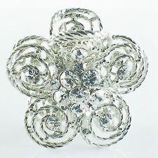 USA Quality Hair Claw Clip Hairpin use Swarovski Crystal Vintage Flower Silver 1